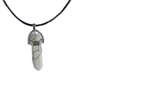 Collier Howlite Pointe Cordon noir